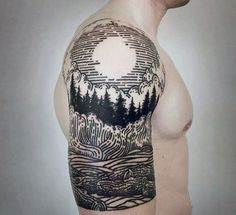 awesome Tattoo Trends - Woodcut Male Forest Half Sleeve Tattoo Designs...