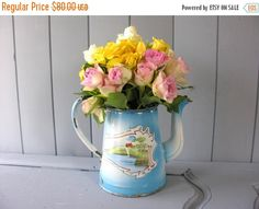 15% OFF Shabby 19th french antique enamel by myfrenchycottage