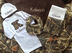 A personal favorite from my etsy shop httpsetsylisting items similar to baby boy gift set personalized layette gown hat burp cloth blanket with bib realtree max 4 hd on etsy negle Image collections
