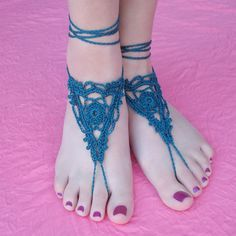 Goddess Barefoot Sandals free crochet pattern