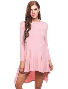 Pink Long Sleeve Solid Slide Slit Asymmetrical Casual Dress