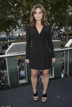 Who's she: Jenna Coleman was the centre of attention at the official screening of new Doctor Who premiere in London on Saturday