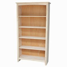 International Concepts Shaker Bookcase, 60-Inch, Unfinished