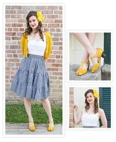 Elizabeth loved pairing the White Trixie Top with the black gingham Bonita Skirt! Re-Mix Gabriele Heels, a yellow hair flower, and mustard cardigan complete the look.