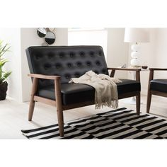 Shop for Baxton Studio Sorrento Mid-century Retro Modern Black Faux Leather Upholstered Wooden Loveseat. Get free delivery On EVERYTHING* Overstock - Your Online Furniture Store! Get in rewards with Club O! Black Loveseat, Leather Loveseat, Online Furniture Stores, Furniture Deals, Gray Furniture, Furniture Outlet, Comfortable Living Rooms, Baxton Studio, Modern Interior