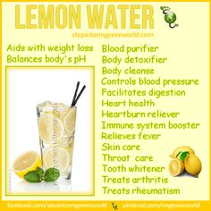 ☛ Have you had your lemon water today? Do you know how good it is for YOU?  FOR ALL YOU NEED TO KNOW ABOUT LEMON WATER:  http://www.stepintomygreenworld.com/healthyliving/warm-lemon-water-the-cup-of-goodness/  ✒ Share | Like | Re-pin | Comment