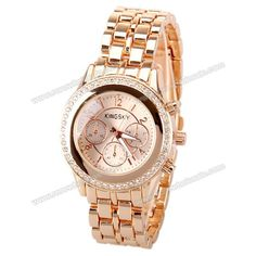 Wholesale Kingsky Quartz Watch with Numbers and Strips Indicate Steel Watch Band for Women (CHAMPAGNE), Women's Watches - Rosewholesale.com