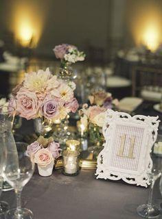 Wedding Ideas: Mad About Mauve - wedding centerpiece idea; Caroline Tran