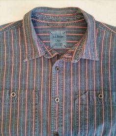 L.L.BEAN Blue Cotton Denim Blue Striped Long Sleeve Shirt sz LReg #LLBean #ButtonFront