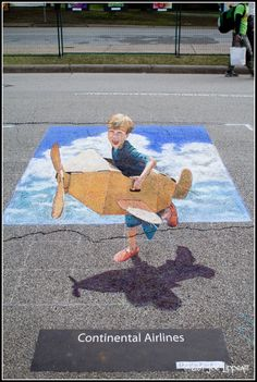 3D chalk pavement art in Houston chalk festival.