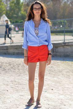 coral shorts and chambray shirts 2