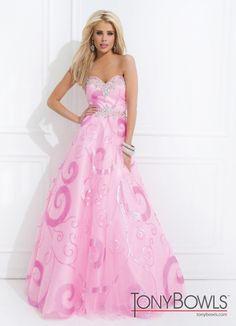 Tony Bowls 2014 Gold Pink Turquoise Blue Sequin beaded Strapless Sweetheart Ball Gown 114543 | Promgirl.net