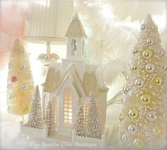 Shabby Xmas Chic Lit Putz Village Home & Bottle Brush Trees Vintage White New by lanxin Pink Christmas, All Things Christmas, Christmas Home, Vintage Christmas, Christmas Crafts, Xmas, Christmas Village Houses, Putz Houses, Christmas Villages