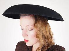 40s Vintage New Look Wide Brim Black Wool Felt Hat sold by denisebrain