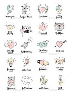 valentines day love quotes editable vector set with love doodles eps 10 all the design elements c ? Love Doodles, Little Doodles, Easy Doodles, Valentines Day Doodles, Valentines Day Love Quotes, Valentines Design, Valentine Nails, Doodle Art For Beginners, Valentines Day Drawing