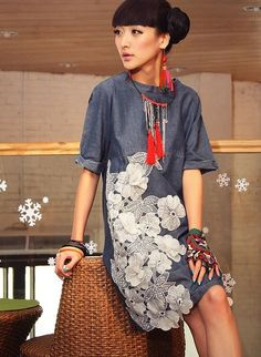 Liebo genuine 2013 spring loose lace applique Denim Dress journey to find himself Cute Dresses For Teens, Elegant Dresses For Women, Denim Fashion, Womens Fashion, Pink Prom Dresses, Party Dresses, Embroidered Clothes, Blouse Styles, The Dress