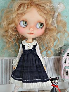 Blythe doll OOAK outfit *My heart's in the Highlands*  vintage style  dress by marina, $69.00 USD