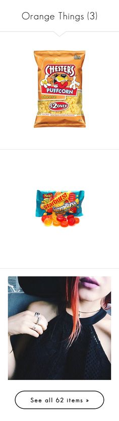 """Orange Things (3)"" by bvbtakeover ❤ liked on Polyvore featuring food, food and drink, fillers, candy, snacks, tops, shirts, tank tops, tanks and multi color"