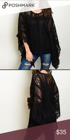 Stunning lace tie front asymmetrical top! A must have stunning lace detail with 3 qtr sleeves - tie front and asymmetrical hemline Tops