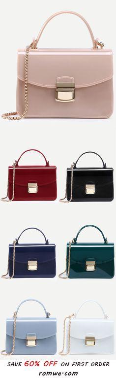 Apricot Pushlock Closure Plastic Handbag