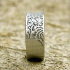 Mens wedding band with the brides finger print