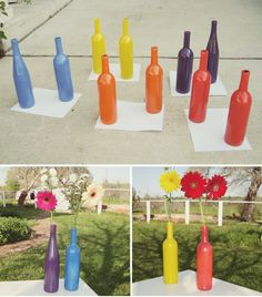 wine bottles + paint = cheap, colorful, fun vases!