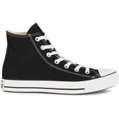 Womens Hi-Top Trainers Converse All Star Black Canvas Hi-top Trainers ($71) ❤ liked on Polyvore featuring shoes, sneakers, converse, trainers, lace up sneakers, converse shoes, black canvas sneakers, canvas lace up sneakers and canvas high top sneakers