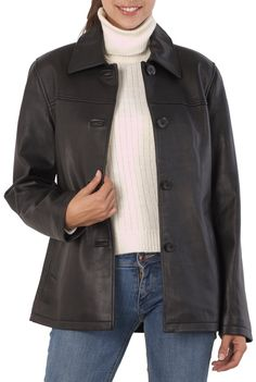 BGSD Womens New Zealand Lambskin Leather Car Coat - Black S