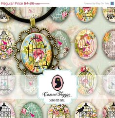 75% OFF SALE BIRD Cage Oval 30x40 mm Digital by cameoshoppe