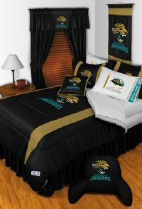 Officially licensed Jacksonville Jaguars NFL Football Bedding in official team colors of black, teal, gold, and white with licensed NFL football team logo on each Jacksonville Jaguars comforter Set, as well as, all curtains, blankets and accessories.
