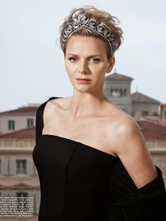 Charlene, Princess of Monaco, wearing the Ocean Tiara, created especially for her. It can also be worn as a necklace.