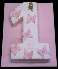 number cake with butterflies