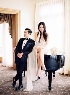 Elegant bride and groom wedding fashions.