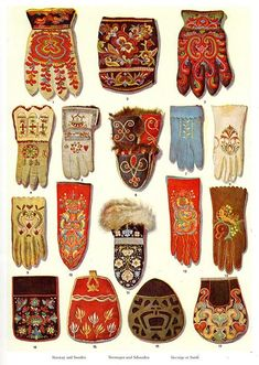 Embroidered gloves from Norway and Sweden.