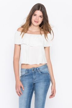 SUBDUED T-SHIRTS & TANK TOPS  OFF THE SHOULDER CROP TOP