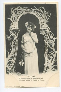 Art Nouveau Lilly Flower Woman Original Old 1900s Postcard Lot Set of 8 | eBay