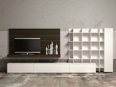 Ensemble mural composable avec support tv SLIM 60 by Dall'Agnese
