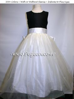 Black and New Ivory Tulle CUSTOM FLOWER GIRL DRESSES style 356 by Pegeen