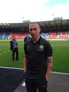 Celtic Captain Scott Brown checks out the national stadium ahead of Kick Off.