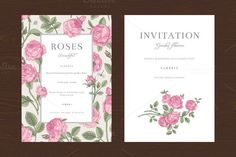 Check out Pink Garden Roses. Vector set by olga.korneeva on Creative Market