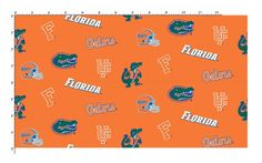 University of Florida Fabric Fine Cotton Classic Colored Ground Allover [FLA045] - $8.89 : Fabric Store for YOUR College - University