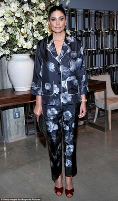 Woke up like this: Designer Rachel Roy wore a floral pajama-style outfit - The First Monday in May L.A. Premiere - April 15, 2016