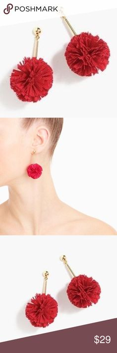 "J. Crew Gathered Carnation Earrings Bright and bold drop earrings add the perfect pop to your style. Shiny gold plating 2 1/4"" length. Very lightweight in Fiery Red. J. Crew Jewelry Earrings"