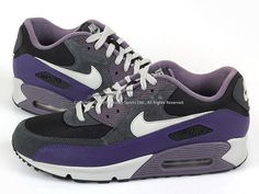Like Nike Wmns Air Max 90 Le Black Grey Anthracite Purple Casual Running  325213 024  