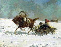 Alfred von Wierusz-Kowalski (Polish painter) 1849 - 1915 The Sleigh, s.d.