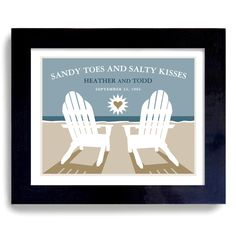 Beach Wedding Art Print Personalized For Couples. $22.00, via Etsy.
