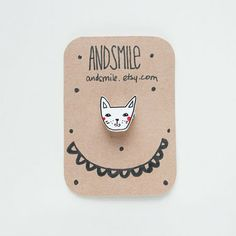Kitty Brooch by andsmile on Etsy, Shrink Plastic, Pretty Packaging, Love Design, Pin Badges, Cat Lady, Brooch Pin, Gift Wrapping, Kitty, Graphic Design