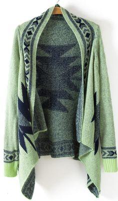 Green Long Sleeve Geometric Asymmetrical Cardigan
