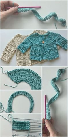 Crochet Baby Sweater Project - - Baby crochet lovers I want to offer you this beautiful crochet baby sweater project. Making of this beautiful crochet is explained step by step in tutorial, you only have to watch and make this cutie! Crochet Baby Sweater Pattern, Crochet Baby Sweaters, Baby Sweater Patterns, Baby Dress Patterns, Baby Clothes Patterns, Crochet Baby Clothes, Baby Knitting Patterns, Clothing Patterns, Knit Crochet