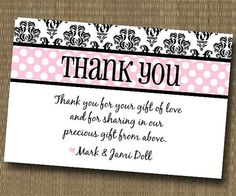Thank You For Wedding Gift Quotes : Shabby Chic Thank You Card - Baby Shower Bridal Shower Birthday - You ...